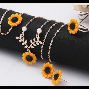 Sunflower floral vintage boho chic jewelry 3 set